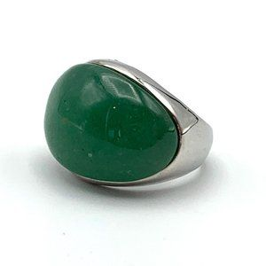 Jewelry - Dome Jadeite Ring Silver Cabochon Green Stone Jewe